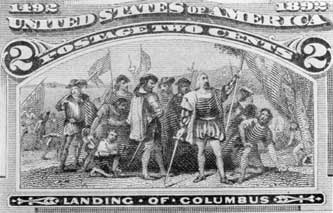 The Landing of Columbus: The original for this two-cent stamp was copied from the heroic painting by John Vanderlyn which hangs in the rotunda of the United States Capitol in Washington.