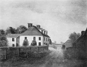 The Lear House, Built Circa 1740: From an oil painting about 1800, it shows the ell that has since been removed.