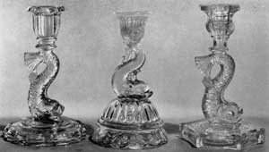 Three Later Dolphin Designs: Left, with circular base; center, a petticoat type from Pittsburgh; and right, with six-sided base.