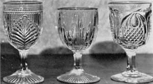 Three Goblets: Left to right the patterns are: Ribbed Palm; Icicle; and New England Pineapple.