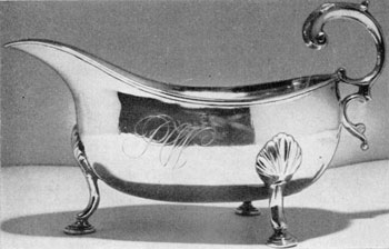 1. Large gravy boat in the Georgian style, a handsome example of the work of William Faris, 28th century Annapolis silversmith.