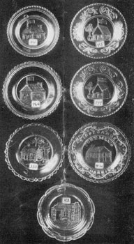 2. Seven varieties of log cabin cup plates, mementos of Harrison's campaign for the Presidency in 1840.