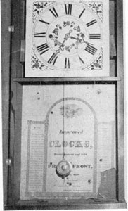 2. Shelf clock bearing the label of Pratt & Frost, a partnership that lasted 3 years, 1832-1835.