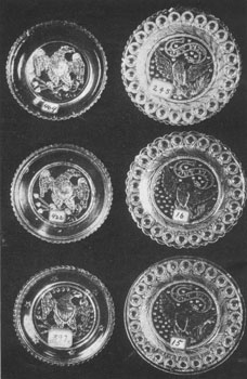 3. Six of the 58 varieties of cup plates that show the American eagle as motif.