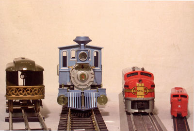Left to Right - Lionel's Standard Gauge, Large Scale, O Scale, and HO scale models.