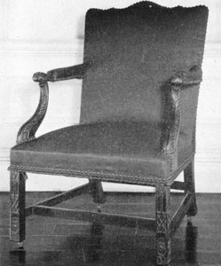 7. Marlborough type armchair, as elaborate as its London prototype. This one was made by Thomas Affleck for Governor John Penn.