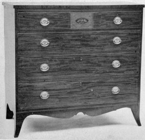 American Hepplewhite After 1800: This chest of drawers bears the label of Michael Allison, New York cabinetmaker who worked from 1501 to 1523.
