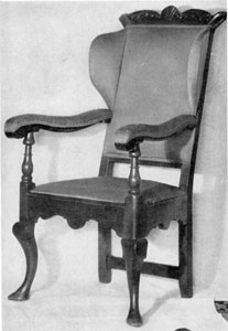 Stiegel's Armchair: This piece was discovered near Manheim in 1870. His household possessions were scattered by auction sale when failure overtook him.