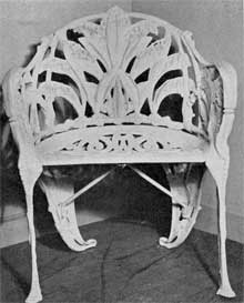 Armchair in Lily-of-the-Valley Design: Both the broad leaves and stems of blossom of this plant were used as motifs through the design of this chair.