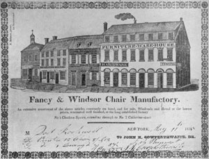 Bill of John K. Cowperthwaite, New York Windsor Chairmaker: Dated May II, 1825, it shows his shop at 4 Chatham Square with those adjoining it. Cowperthwaite, like many others, made both Windsors and fancy chairs.