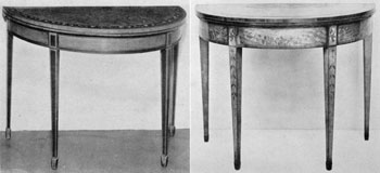 Card Tables, American and English: That at the left is of American make and is all of satinwood with painted decoration. At the right is an English table also of satinwood with the decoration done with inlay of contrasting colors. Both have the Marlborough or spade foot.