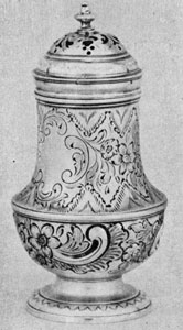 George I caster with repousse decoration, John Bignell, ent. 1720, London.