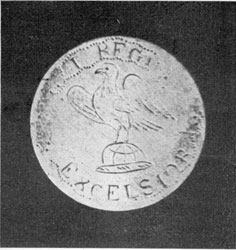 "Button with Eagle, and motto ""Excelsior,"" and additional markings of the First Regiment."