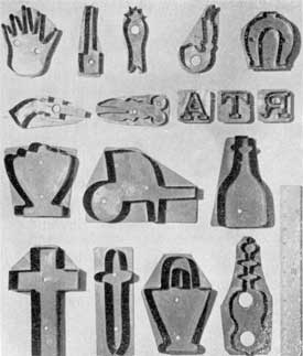 Illustration V: Familiar Household Designs: the upper row is a hand and a horseshoe. In the next row, a pistol, a pair of shears, and letters of the alphabet. In the bottom row are two forms of the crucifix.