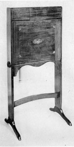 Fire Screen and Desk: For the latter use the front drops forward. Of mahogany with decorative inlay it follows the Hepplewhite design but was made in New York about 1790 for Anne Stevenson who married General Pierre ran Cortlandt.