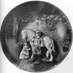 Illustration III: Cavalier and Barmaid: The paperweight done in iridescent green, red and white against a background of natural colors, presents a conventional but romantic 17th Century group that may have been either English or Continental.