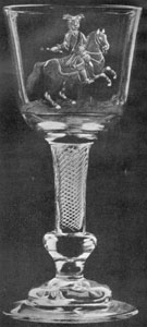 Illustration II: Equestrian Portrait of William III: Here he is depicted with military baton in his right hand. This wine glass with air twist stem above a pressed inverted knob and resting on a domed base was made between 1730-1740, probably as a memorial.