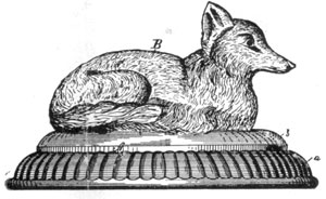 ILLUSTRATON II: The Fox Covered Dish: Also patented August 6, 1889, by Atterbury, in his specification he states that the top could be used with bases of several designs.