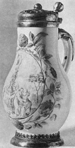 Illustration III: By Abraham Helmhack: This fayence jug with silver-gilt mountings dates from the late 17th Century.