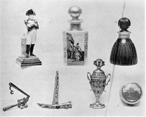 Illustration IV: Perfume Bottles, Powder Box, Combination Vinaigrette and Patch box, Fingernail Protectors, Nail Clipper — Continental and Chinese — 18th and 19th Centuries.