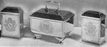 3. Simplicity of form and outline, accented by subdued, delicate decoration (as in these tea caddies) characterize the silverwork of Augustine Courtauld. The pair, left and right, dated 1726-27; center casket, 1731-32. All three engraved with the arms and crest of the Still family.