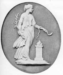 5. Hygeia, a Wedgwood medallion modeled from a carnelian illustrated in Raspe's catalogue.