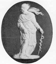 7. AEsculapius, a Wedgwood medallion modeled from an engraved carnelian illustrated by Raspe.