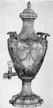 7. Repousse silver hot water urn in the neo-classical style. Bearing the marks of Louisa Courtauld and George Cowles, 1776.