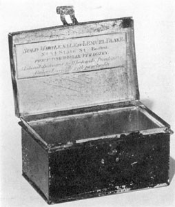 "Interior Japanned Nutmeg Box: The original label is still inside the lid. It reads: ""Sold Wholesale by Lemuel Blake No. 84 State St. Boston. Price One Dollar Per Dozen. A Liberal Discount to Wholesale Purchasers. Orders Executed with Punctuality."""