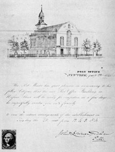 Invitation to New York Post Office Preview: This invitation was issued January 23, 1845 and signed by John Lorimer Graham, then postmaster. The building illustrated at the top was formerly the Dutch Reformed on Nassaut Street. At the lower left hand corner an uncollected specimen of the five-cent stamp issued by New York postmaster.