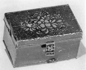 Japanned Nutmeg Box: The technique for lacquer decoration of course originated in China Out was later mastered by Occidental craftsmen. It teas a popular decoration for tin articles, large and small.
