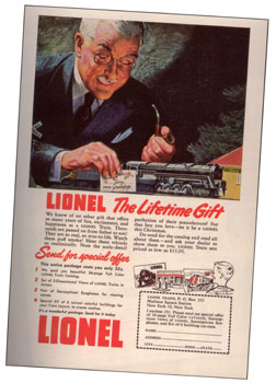 Lionel's 1948 catalog offer included a set of six cut out cardboard buildings and, the rage of the day, 3-D blue-and-red photographs that could be viewed through the included pair of cardboard and plastic Stereopticon Eyeglasses - all just for a quarter.