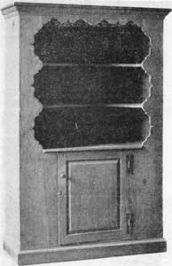 Open Pine Cupboard, Circa 1740: The cyma curved shapings of open front closely resemble those found on other American furniture of the William and Mary and Queen Anne periods, especially highboys. Notice the curved shape of the shelves and panel door with H hinges in the base.