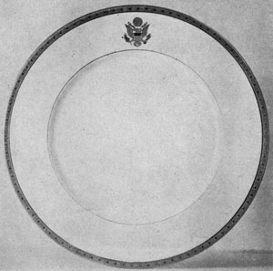 Plate for United States Embassies: It has an etched gold border and seal of the United States done in the same manner.