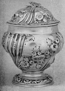 George II sugar bowl with repousse decroation, samuel taylor, 1751, London.