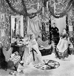 The Christmas Cotillion: Victorian in feeling, the dolls are of the period and are from the collection of Miss Sidney Howell, arranged in an appropriate setting that reproduces the period.