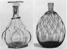 Illustrations VIII, VIII-A: Two Flasks with Diamond Quilting: Illustration VIII, a 4th Century Alexandrian flask with molded ribs pulled together in diamond shapes. Illustration VIII-A, flask of the mid l9th Century, mid-western type. In America such diamond quilting was almost invariably formed in the mold.