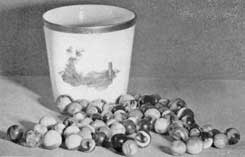 Various American-Made Marbles: The playing marbles in this group were made about thirty years ago and are among the first made here
