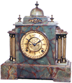 Green Onyx clock by Ansonia Clock Co., New York, NY ca. 1900