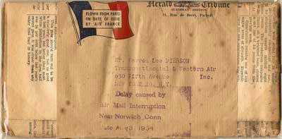 Postmark - August 2, 1854. Origin - Paris, France. Destination: Norwich, Connecticut.  August 4, 1954, an Air France Super Constellation with 37 people on board crashed in a potato field in Preston. All 37 passengers survived. Three different handstamps were used, this is one of the three types. 4 Line, Lower case month.