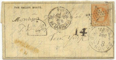 Civil War Patriotic Cover – Possibly issued as a mourning cover after Lincoln's assassination, Scott 65.