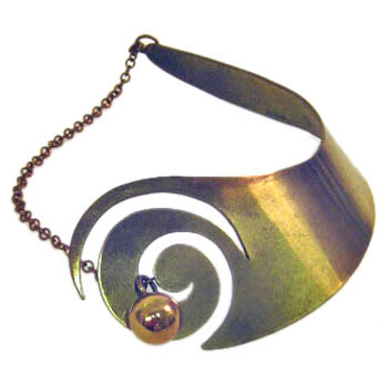 Sculptural brass collar with spiral and ball by Art Smith
