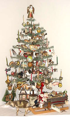 40 tall antique feather tree decorated with german dresden ornaments the tree - Christmas Tree Decorated With Vintage Ornaments