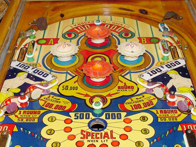 Detail of gobble hole in playfield of World Champ of Gottlieb 1957.
