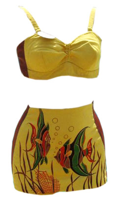 70af9c4945 Vintage 40s Catalina 'Hawaiian Fish' California Hand Print Two Piece  Swimsuit