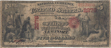 1875 series Newport, KY My hometown note. This is the only $5 note known on this bank.