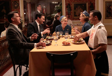 Salvatore Romano (Bryan Batt), Don Draper (Jon Hamm), Shelly (Sunny Mabrey), Lorelai (Annie Little) and Jack (Joel Lambert) in Episode 1.