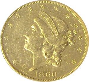 1860-O from SS Republic(front). 1860-O Gold $20 Double Eagle Type 1 No Motto - S.S. Republic from The Arlington Collection of Shipwreck Treasure