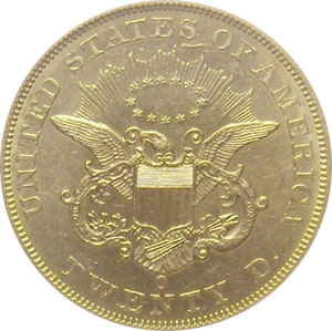1861-O from SS Republic(reverse). 1861-O Gold $20 Double Eagle Type 1 No Motto - S.S. Republic from The Arlington Collection of Shipwreck Treasure