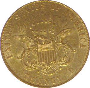 1861- S Paquet Reverse(reverse). 1861-S Gold $20 Double Eagle Type 1 No Motto - Paquet Reverse from The Arlington Collection of Type 1 Double Eagles